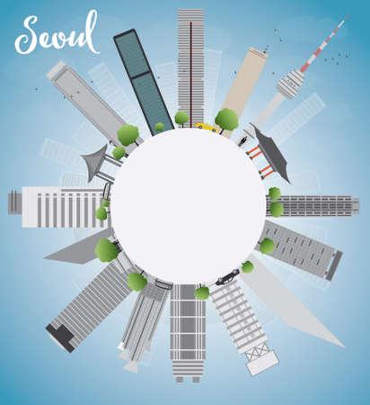 seoul: S�oul horizon avec b�timent gris, bleu ciel et espace copie Vector illustration Illustration