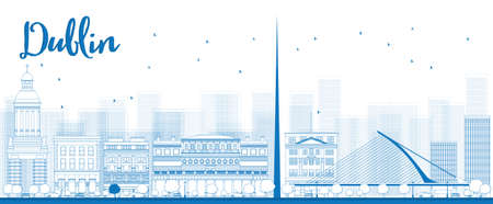 irish cities: Outline Dublin Skyline with Blue Buildings, Ireland. Vector Illustration Illustration