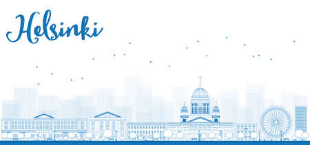old town: Outline Panorama of Old Town in Helsinki, Finland. Vector Illustration