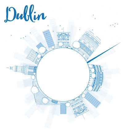 irish cities: Outline Dublin Skyline with Blue Buildings and copy space, Ireland. Vector Illustration