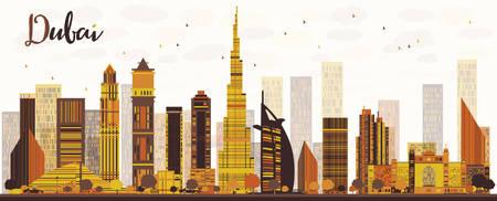 Dubai City skyline with golden skyscrapers. Vector illustration