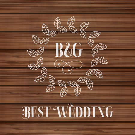 romantic date: Best wedding label with floral detail on wooden texture Vector illustration