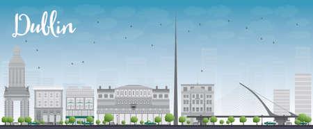 castles needle: Dublin Skyline with Grey Buildings and Blue Sky, Ireland. Vector Illustration