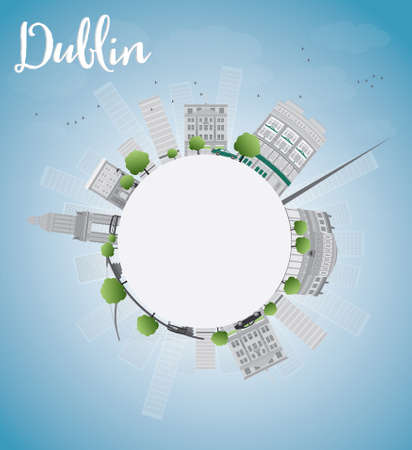 irish cities: Dublin Skyline with Grey Buildings, Blue Sky and copy space, Ireland. Vector Illustration