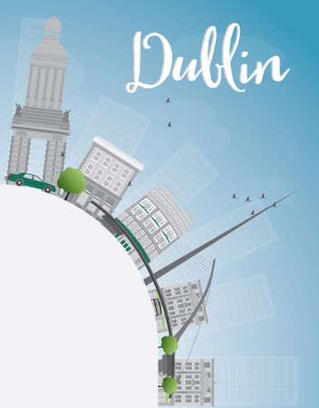 irish landscape: Dublin Skyline with Grey Buildings, Blue Sky and copy space, Ireland. Vector Illustration