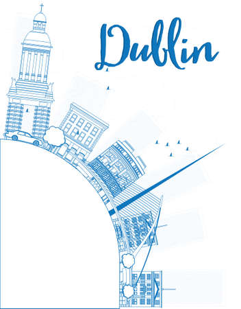 irish landscape: Outline Dublin Skyline with Blue Buildings and copy space, Ireland. Vector Illustration