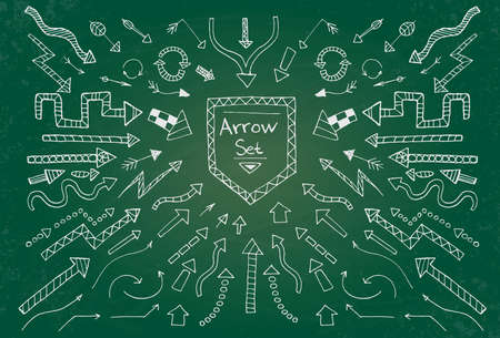 Hand drawn arrow icons set on green chalk board. Vector Illustration Vector