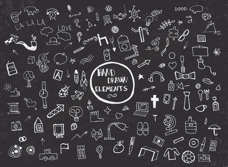 Pattern with Hand Drawn Icons and Elements. Vector Illustration Vector
