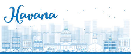 havana: Outline Havana Skyline with Blue Building. Vector Illustration Illustration