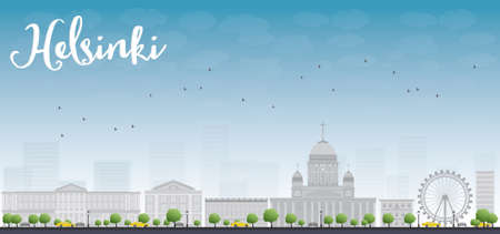 old town: Panorama of Old Town in Helsinki, Finland. Vector Illustration