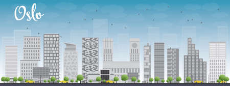 Oslo Skyline with Grey Building and Blue Sky. Vector Illustration