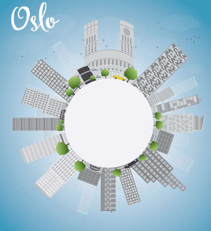 Oslo Skyline with Grey Building, Blue Sky and copy space. Vector Illustration Imagens - 40334994