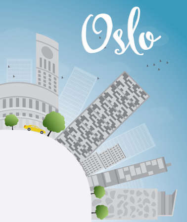 Oslo Skyline with Grey Building, Blue Sky and copy space. Vector Illustration Imagens - 40334996
