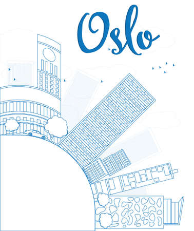 Outline Oslo Skyline with Blue Building and copy space. Vector Illustration Imagens - 40334998
