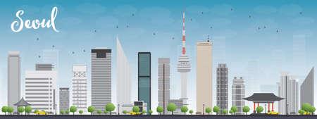grey sky: Seoul skyline with grey building and blue sky Vector illustration