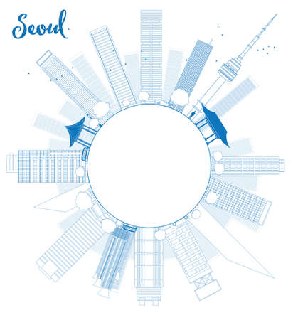 seoul: Outline Seoul skyline with blue building and copy space Vector illustration