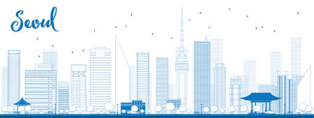 korea: Outline Seoul skyline with blue building Vector illustration