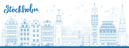 trees silhouette: Outline Stockholm Skyline with Blue Buildings. Vector Illustration Illustration