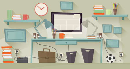 geeky: Workplace concept. Flat design. Vector illustration Illustration
