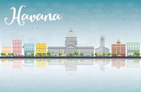havana: Havana Skyline with Color Building and Blue Sky. Vector Illustration Illustration