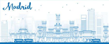 파란색 건물 마드리드 스카이 라인을 설명합니다. 벡터 일러스트 레이 션
