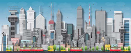 Big city with skyscrapers and small houses. Vector flat illustration Ilustracja