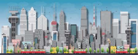 Grote stad met wolkenkrabbers en kleine huizen. Vector flat illustratie Stock Illustratie