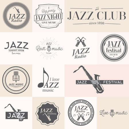 fanfare: Jazz music stamps and labels. Vector illustration Illustration