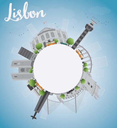 horizont: Lisbon city skyline with grey buildings blue sky and copy space. Vector illustration Illustration