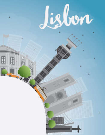 Lisbon city skyline with grey buildings blue sky and copy space. Vector illustration Illustration