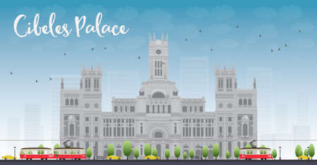 madrid spain: Cibeles Palace Palacio de Cibeles Madrid Spain. It was home to the Postal and Telegraphic Museum until 2007. Vector illustration