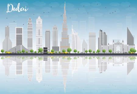 Dubai skyline van de stad met grijze wolkenkrabbers, blauwe hemel en reflecties. Vector illustratie