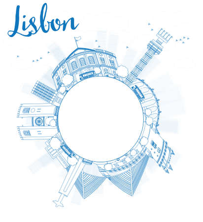 horizont: Outline Lisbon city skyline with blue buildings and copy space. Vector illustration