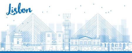 horizont: Outline Lisbon city skyline with blue buildings. Vector illustration Illustration