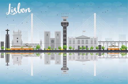 horizont: Lisbon city skyline with grey buildings and blue sky. Vector illustration Illustration