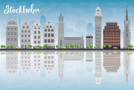 buildings vector: Stockholm Skyline with Grey Buildings and Blue Sky. Vector Illustration