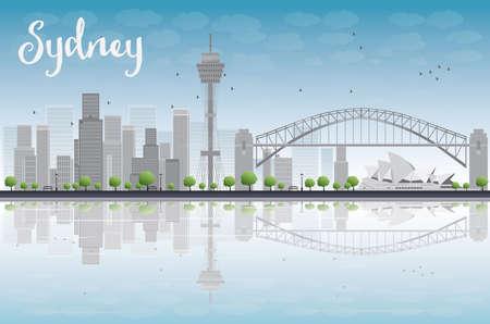 sydney skyline: Sydney City skyline with blue sky and skyscrapers. Vector illustration