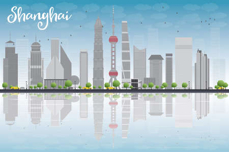 reflections: Shanghai skyline with blue sky, grey skyscrapers and reflections. Vector illustration