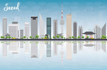 grey sky: Seoul skyline with grey building, blue sky and reflections. Vector illustration