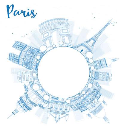 paris skyline: Outline Paris skyline with blue landmarks and copy space. Vector illustration Illustration