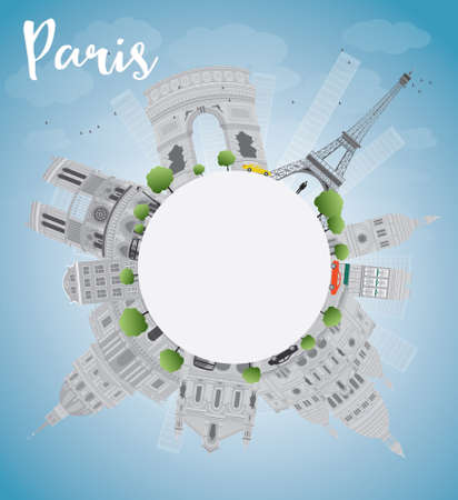 grey sky: Paris skyline with grey landmarks, blue sky and copy space. Vector illustration