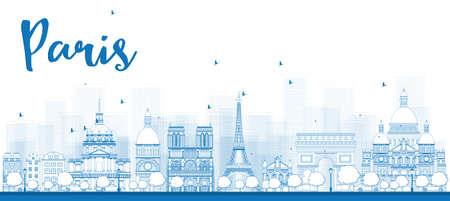 Outline skyline van Parijs met blauwe bezienswaardigheden. Vector illustratie
