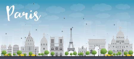 paris skyline: Paris skyline with grey landmarks and blue sky. Vector illustration