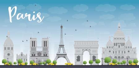 Paris skyline with grey landmarks and blue sky. Vector illustration