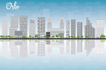 Oslo Skyline with Grey Building, Blue Sky and reflections. Vector Illustration Imagens - 40918681