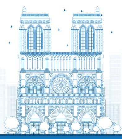 dame: Outline Notre Dame Cathedral - Paris. Vector illustration