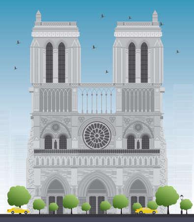 dame: Notre Dame Cathedral - Paris. Vector illustration