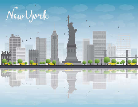 New York city skyline with grey building and blue sky. Vector illustration