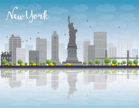 new york skyline: New York city skyline with grey building and blue sky. Vector illustration