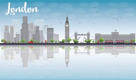 高層ビルと雲のベクトル図とロンドンのスカイライン